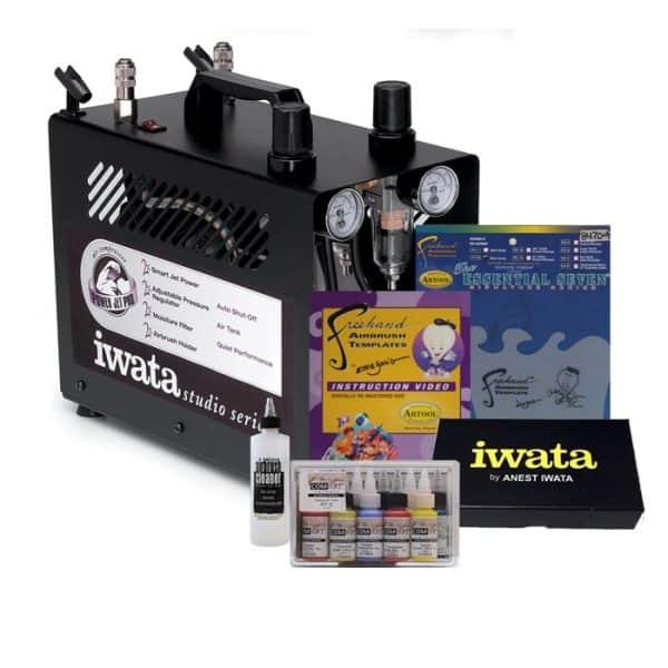 Iwata Airbrush Kit >> Iwata Power Jet Pro Compressor Art And Graphics Airbrush Kit