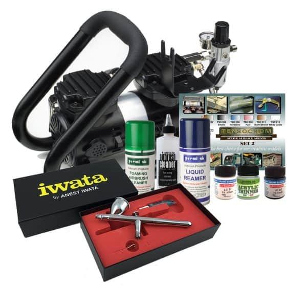 Iwata Airbrush Kit >> Iwata Powerjet Plus Handle Tank Scale Model Airbrush Kit
