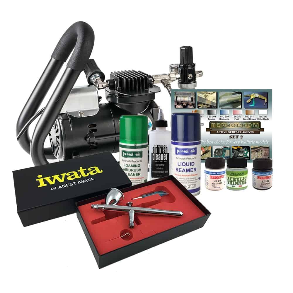 Iwata Airbrush Kit >> Iwata Smart Jet Plus Handle Tank Scale Model Airbrush Kit Graphic Air