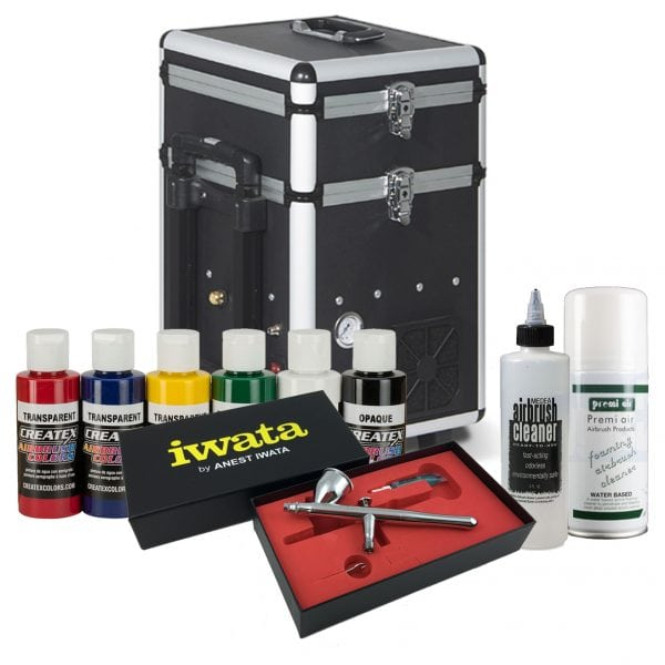 Iwata Textile Airbrush Kit with Maxx Jet compressor and storage unit