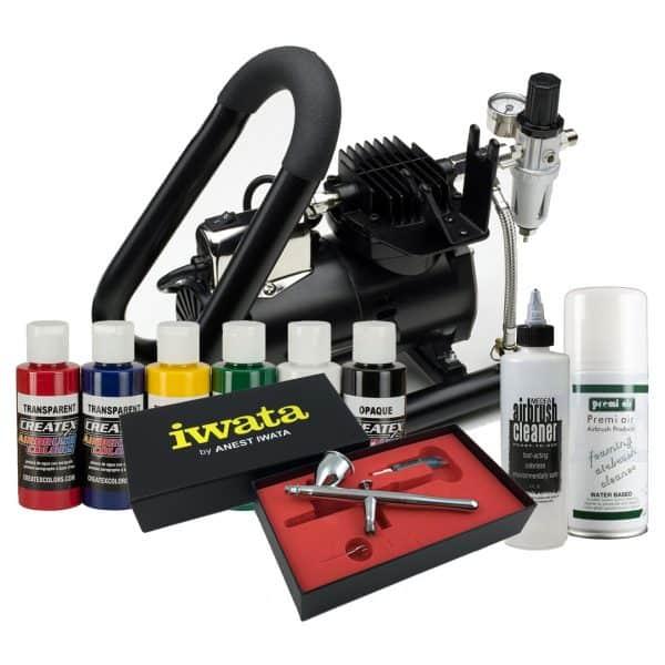 Iwata Textile Airbrush Kit with Smart Jet Plus Handle Tank compressor