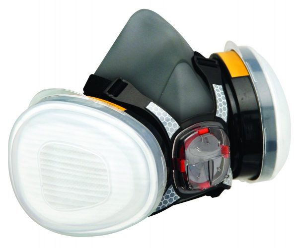 Force 8 Half Mask Twin Respirator with Typhoon Valve and pair of A1P2 filters (for organic vapours/gases and dust)