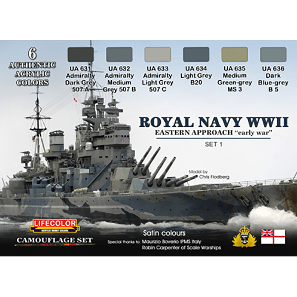 LifeColor Royal Navy WWII Eastern Approach - Early War Set 1 (22ml x 6)