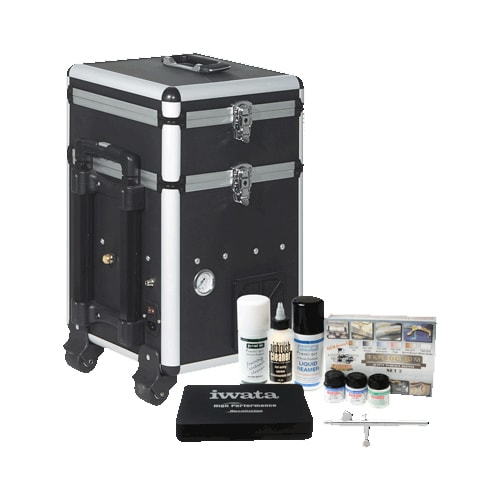 Iwata Modeller Airbrush Kit With Maxx Jet Compressor and Storage Unit